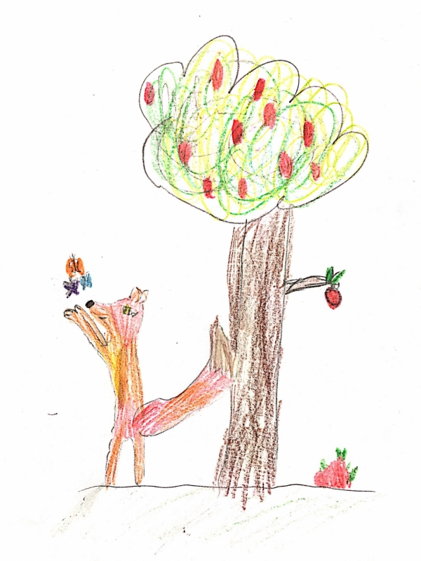 Foxcub Playing With Butterflies By Tree 1