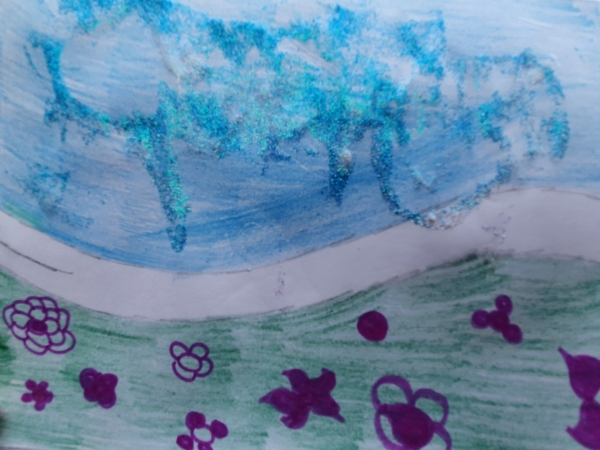 Landscape With Glitter And Flowers 1